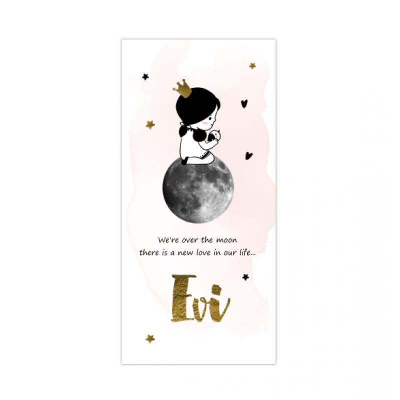 Geboortekaartje Meisje op de maan