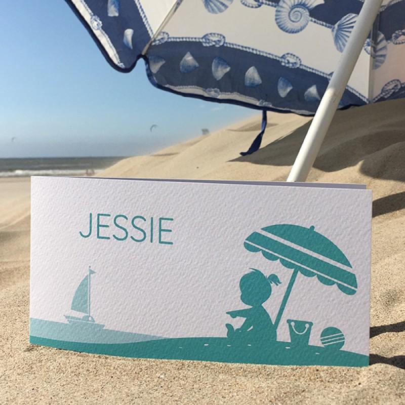 Geboortekaartje Meisje op strand
