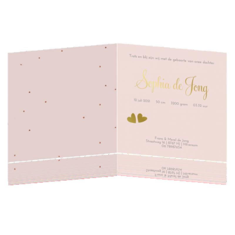 Geboortekaartje Meisje roze met goudfolie