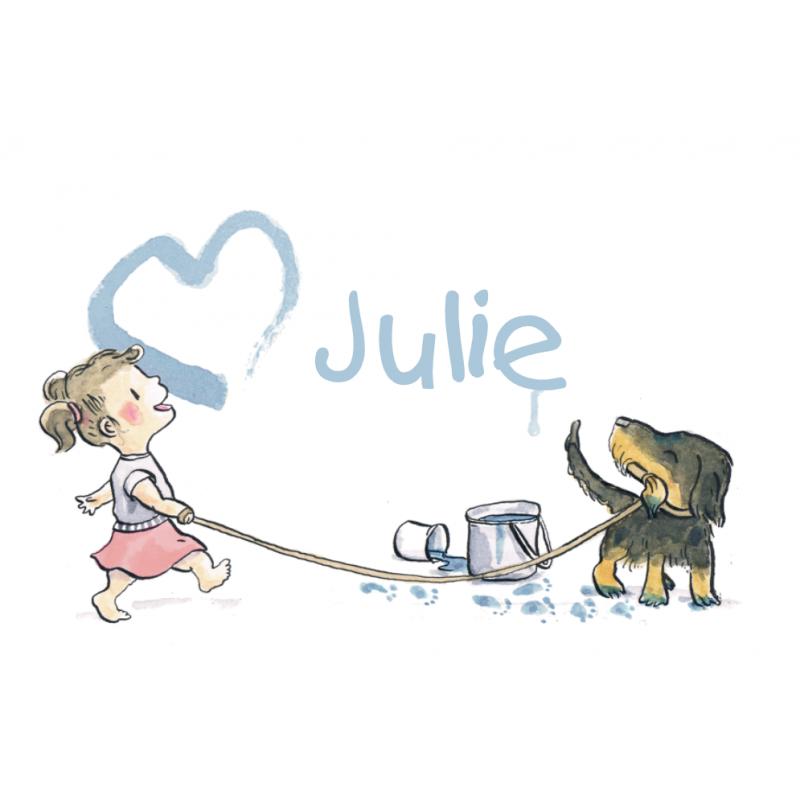 Geboortekaartje meisje teckel hond