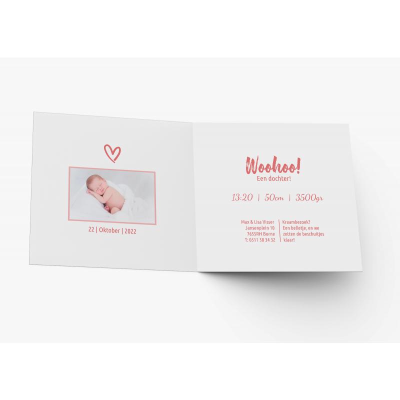 Geboortekaartje Meisjeskaart met foto