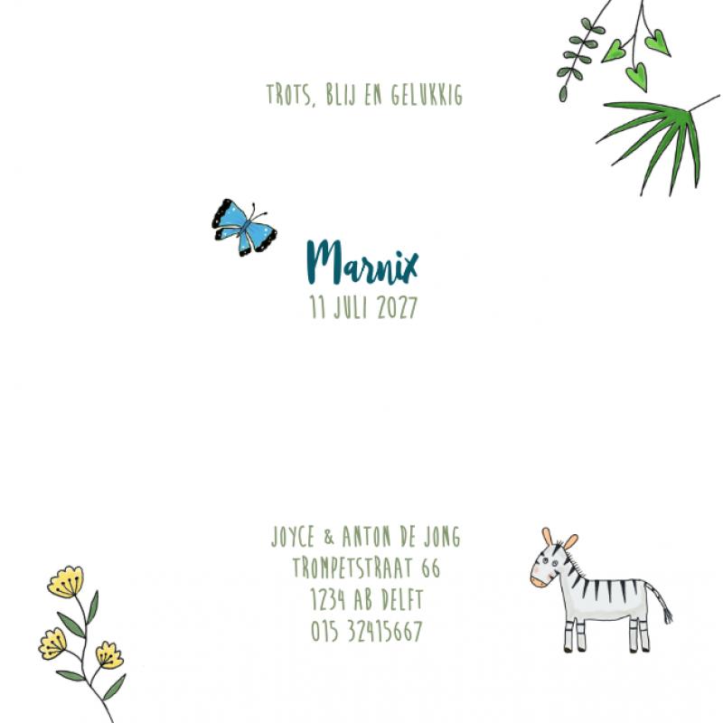 Geboortekaartje Met dieren