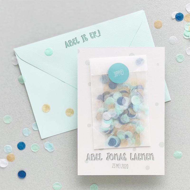 Geboortekaartje met échte confetti