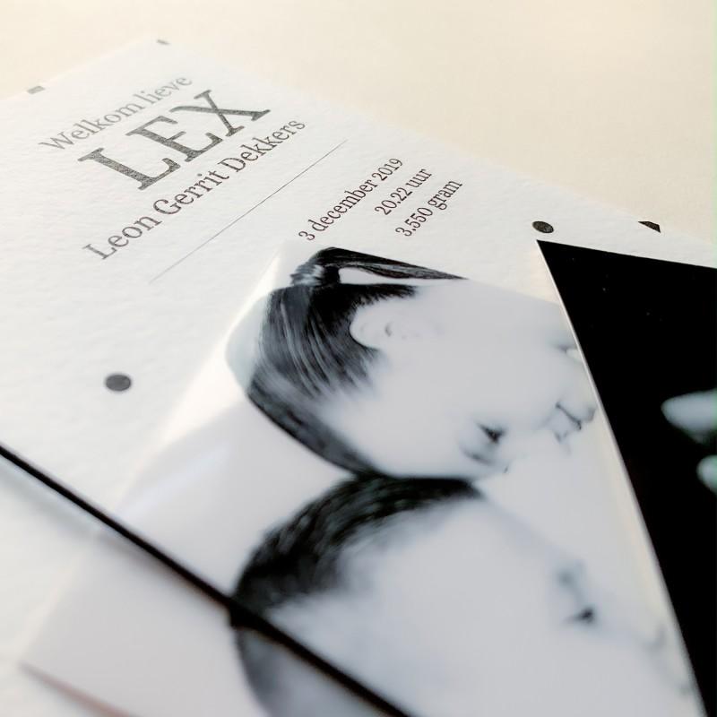 Geboortekaartje met foto's - zwart wit