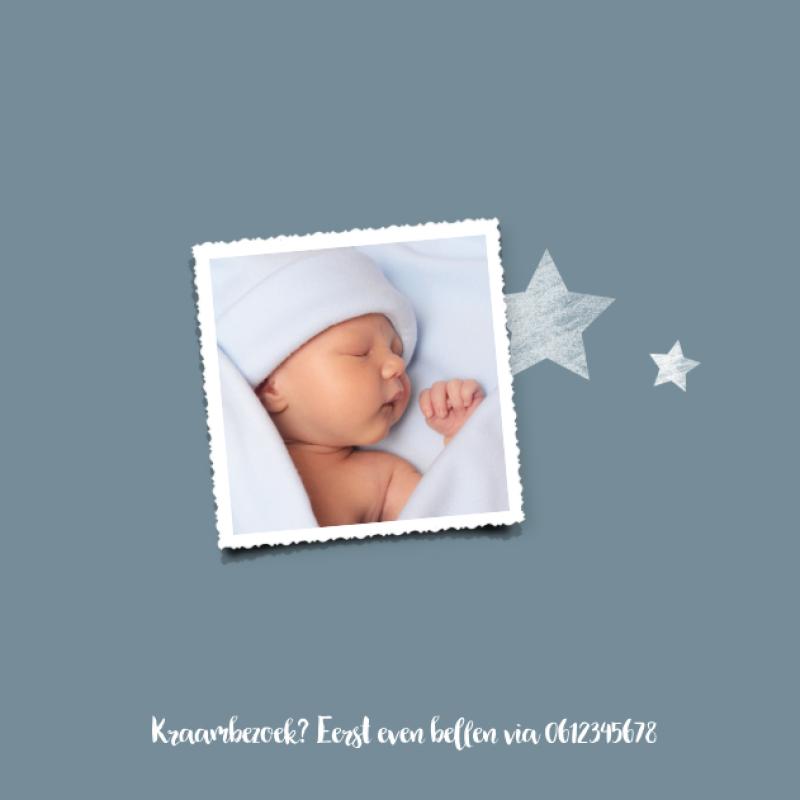 Geboortekaartje Met houten sterretje