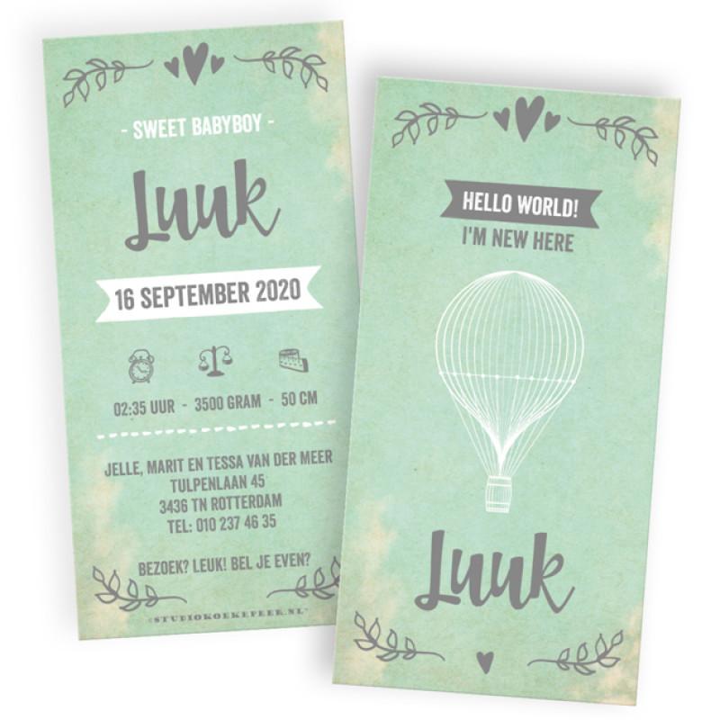 Geboortekaartje Met DIY labelkaartjes