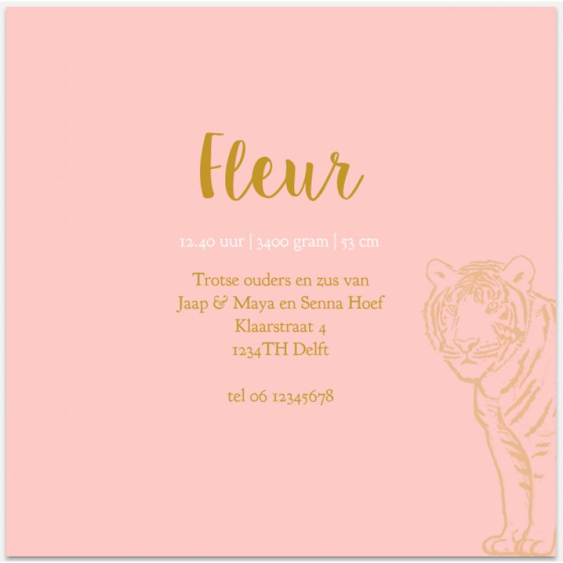 Geboortekaartje Met tijgerprint