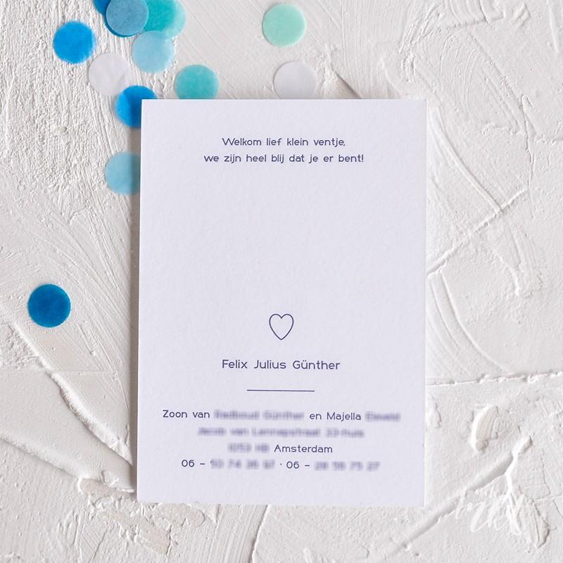 Geboortekaartje Minimalistisch letterpress