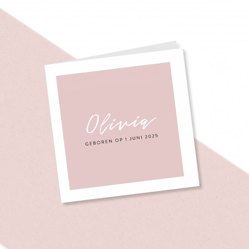 Geboortekaartje Minimalistisch roze