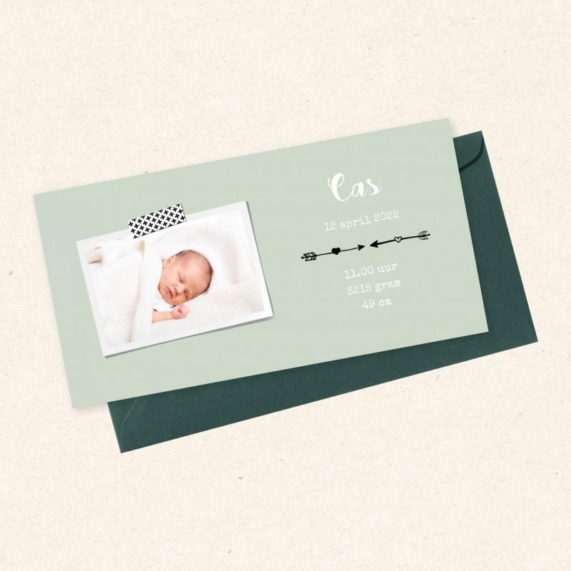 Geboortekaartje Mint met foto en pijlen