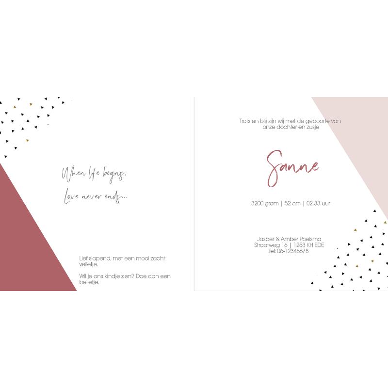 Geboortekaartje modern geometrisch roze