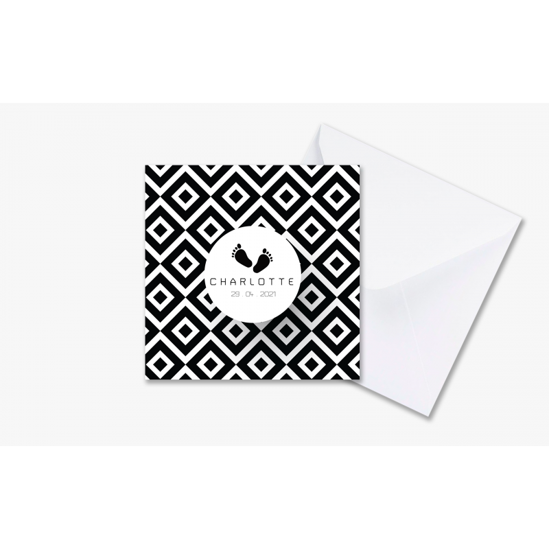 Geboortekaartje Moderne kaart zwart wit
