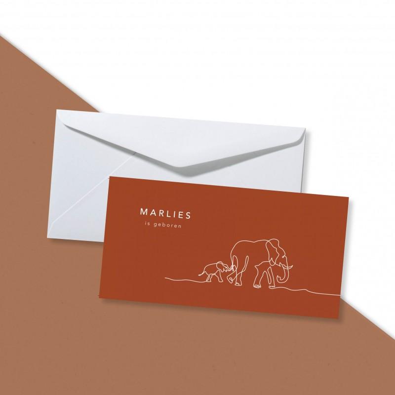 Geboortekaartje Monoline olifantjes