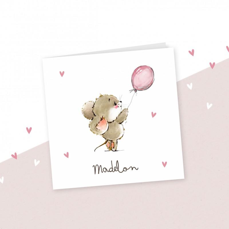Geboortekaartje Muisje met ballon