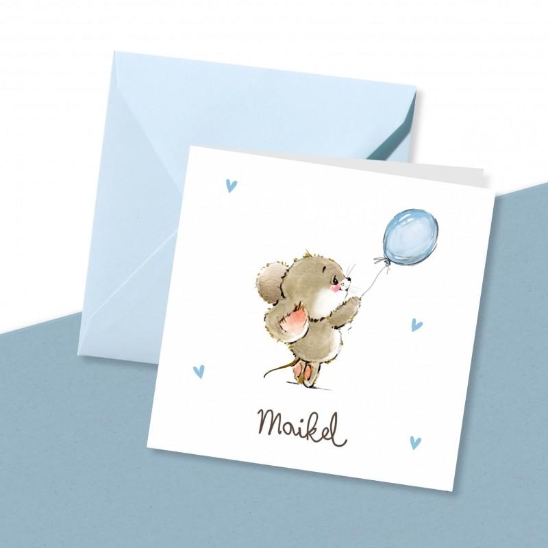 Geboortekaartje Muisje met blauwe ballon