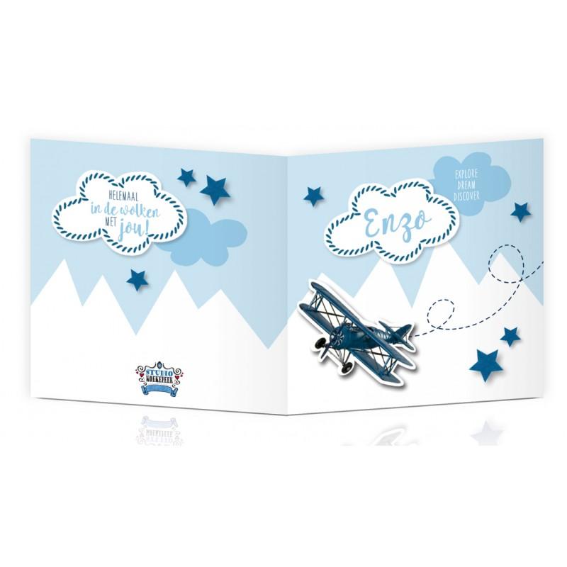 Geboortekaartje Bergen en vliegtuig