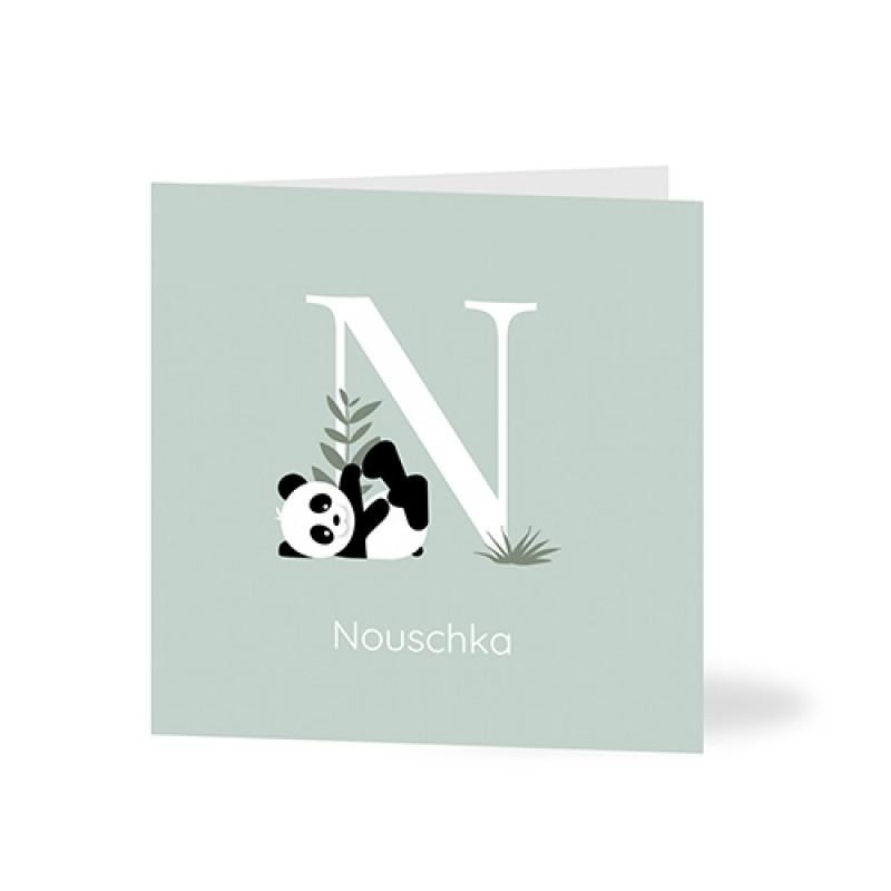 Geboortekaartje panda voor grote letter