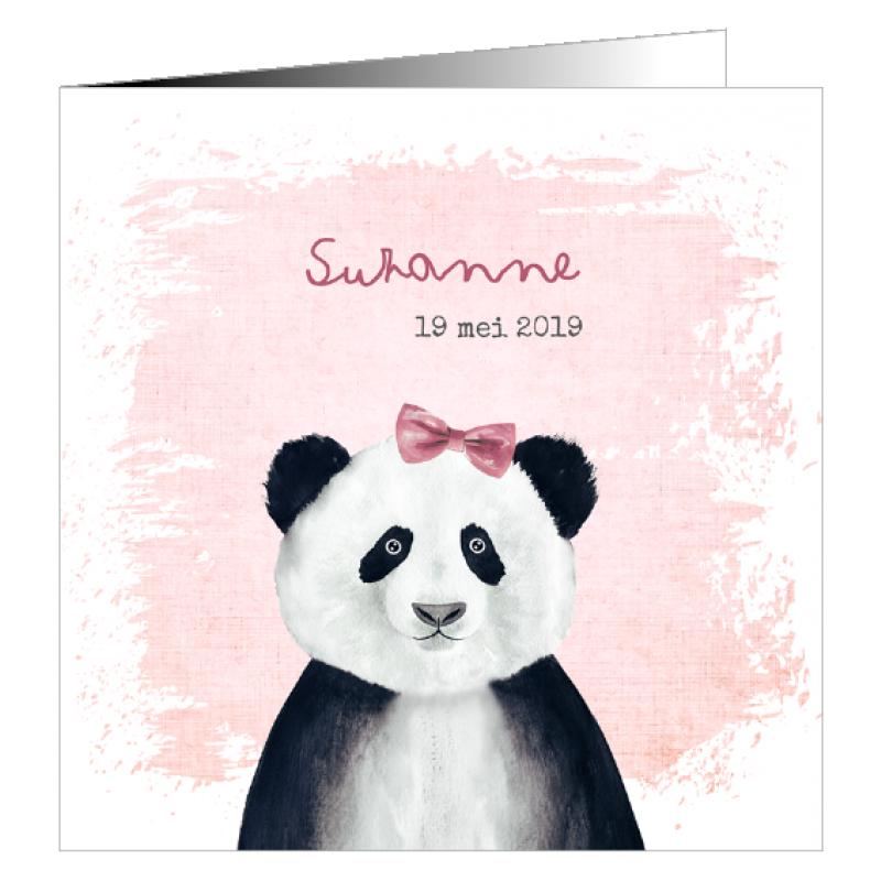 Geboortekaartje Pandabeer met strikje