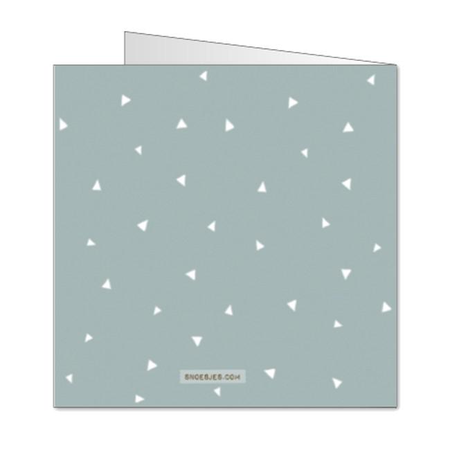 Geboortekaartje patroon driehoekjes grijs