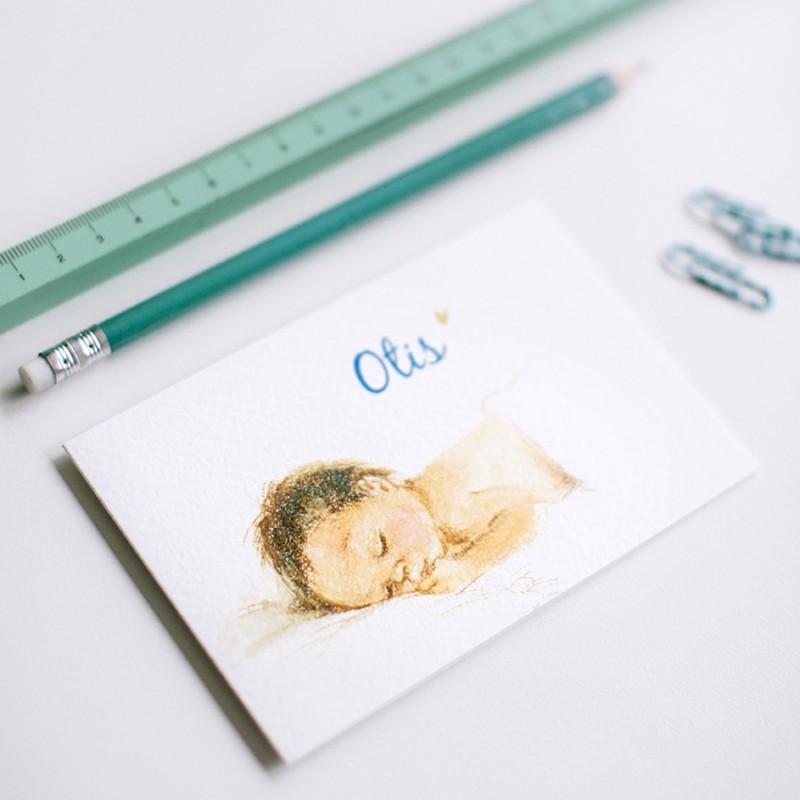 Geboortekaartje Pentekening slapende baby