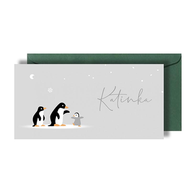 Geboortekaartje pinguïns in een rij