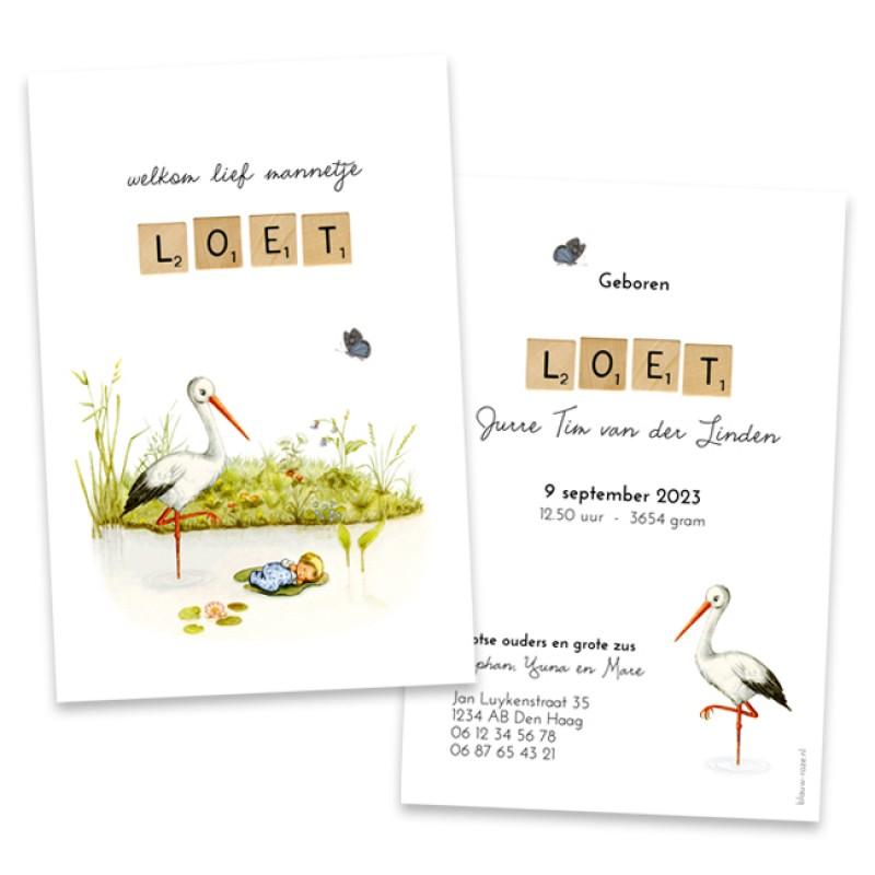 Geboortekaartje Retro kaartje met ooievaar
