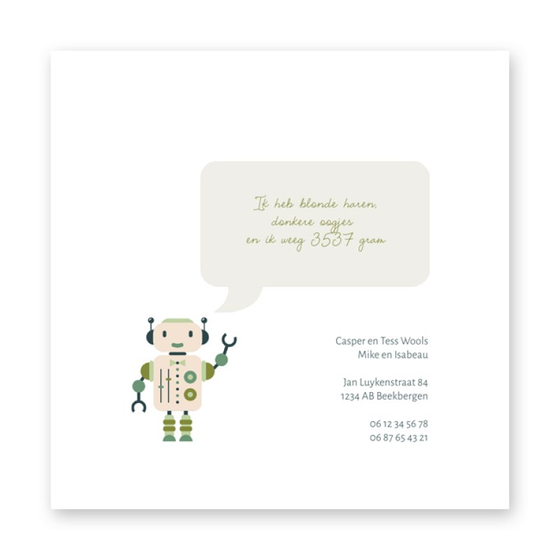 Geboortekaartje Robot