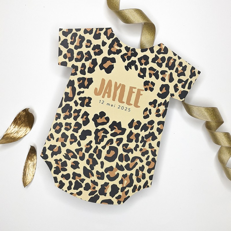 Geboortekaartje Romper met panterprint