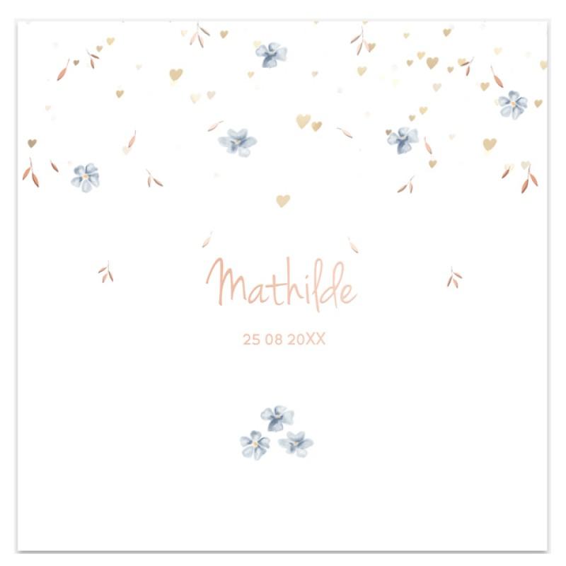 Geboortekaartje Rosé foliedruk bloemen