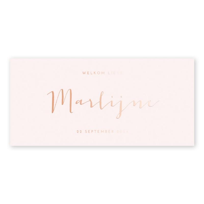 Geboortekaartje Roséfolie, roze en typo
