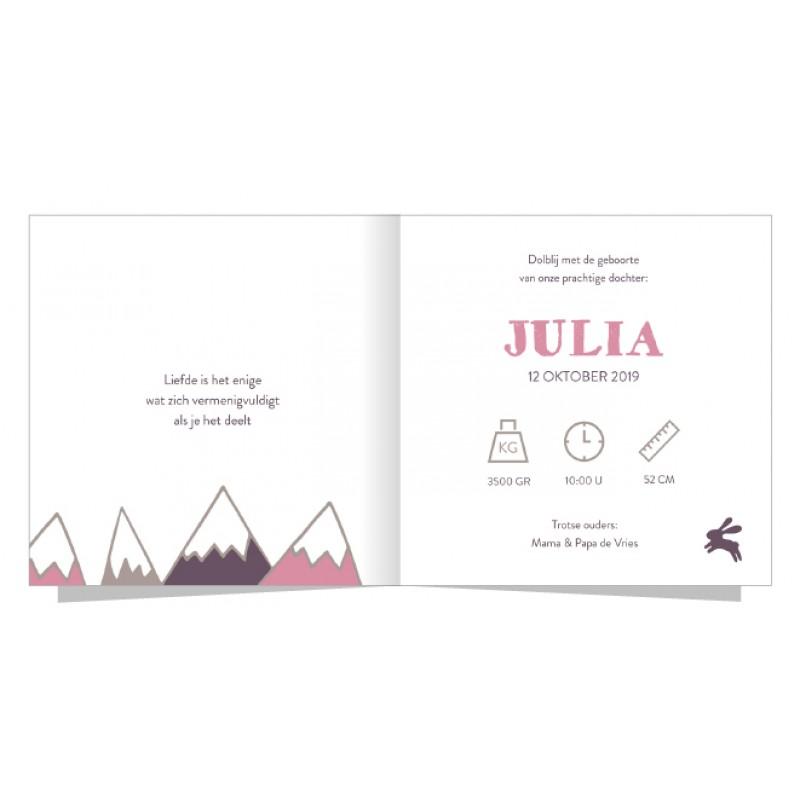 Geboortekaartje Roze bergen en konijntje