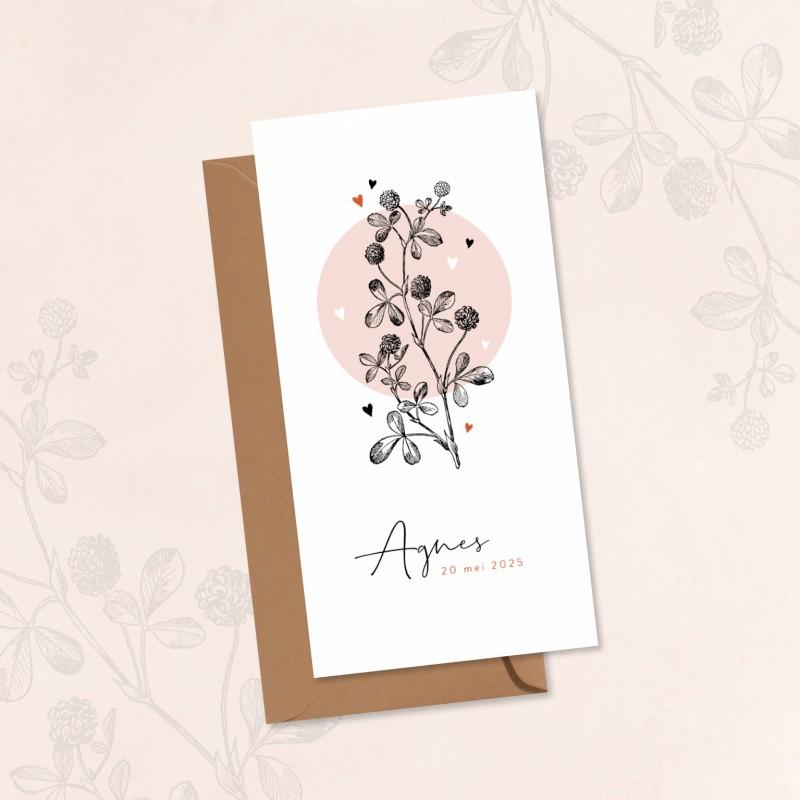 Geboortekaartje Roze cirkel met bloem