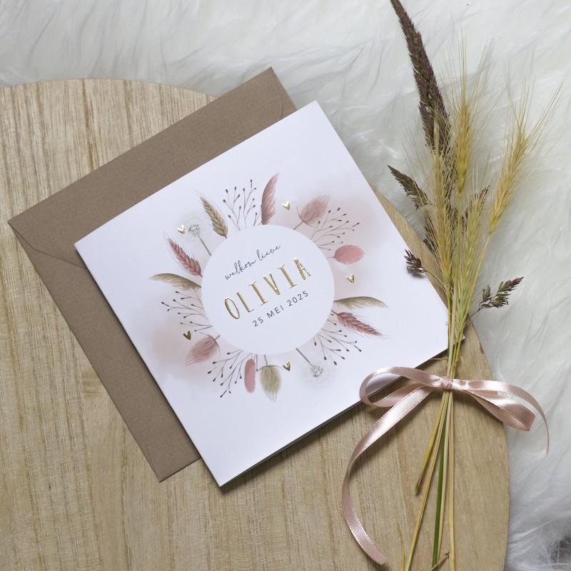 Geboortekaartje Roze droogbloemen folie