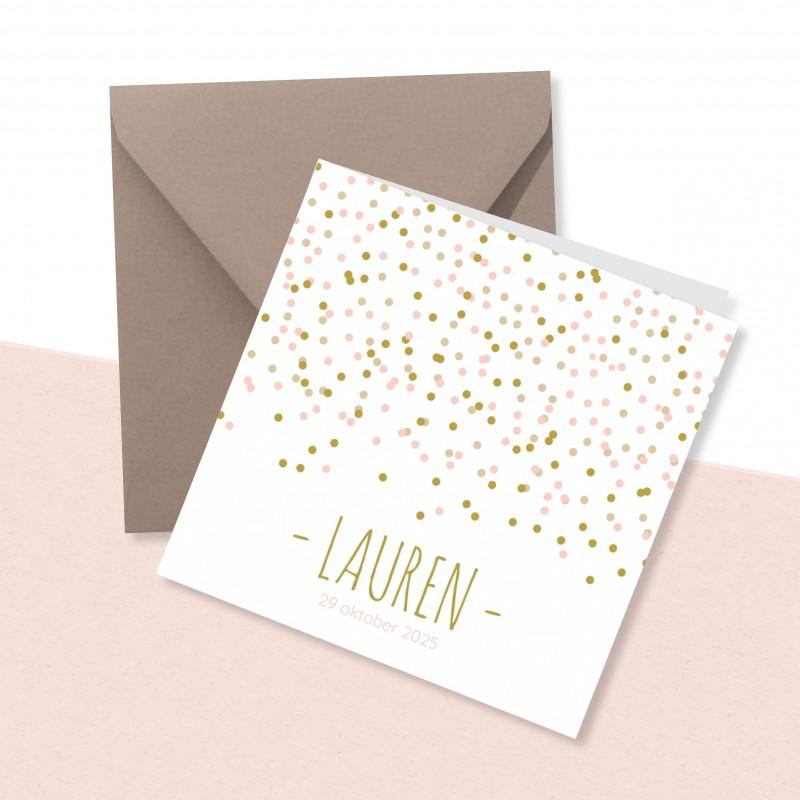 Geboortekaartje Roze en gouden confetti