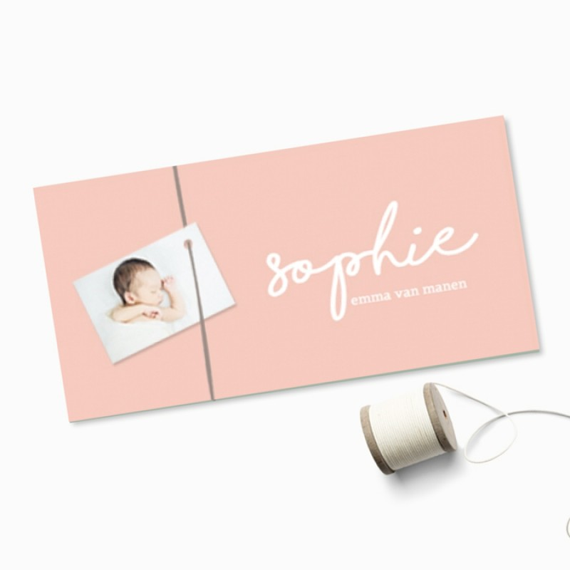 Geboortekaartje Roze fotokaartje