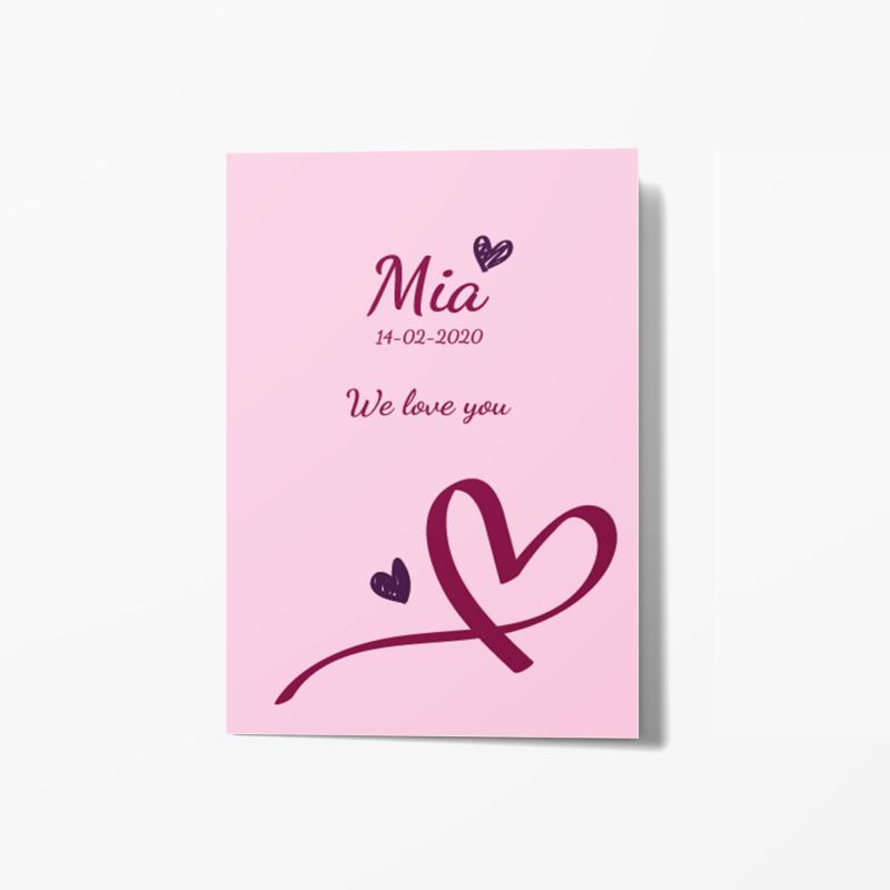Geboortekaartje Roze kaart met hartjes