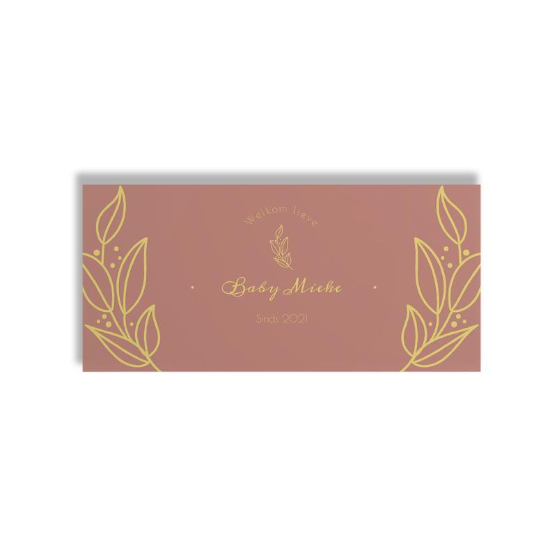 Geboortekaartje Roze kaart met planten