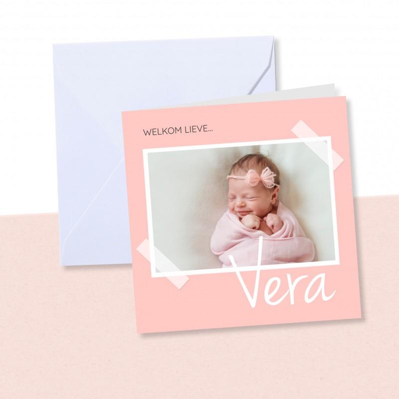 Geboortekaartje Roze met foto
