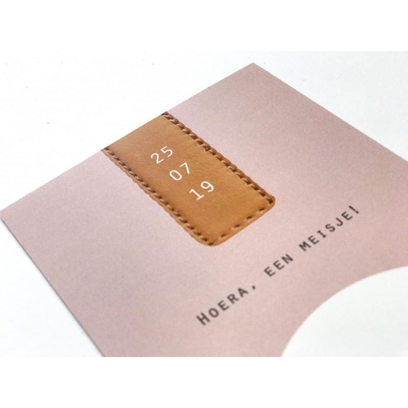 Geboortekaartje Roze met label