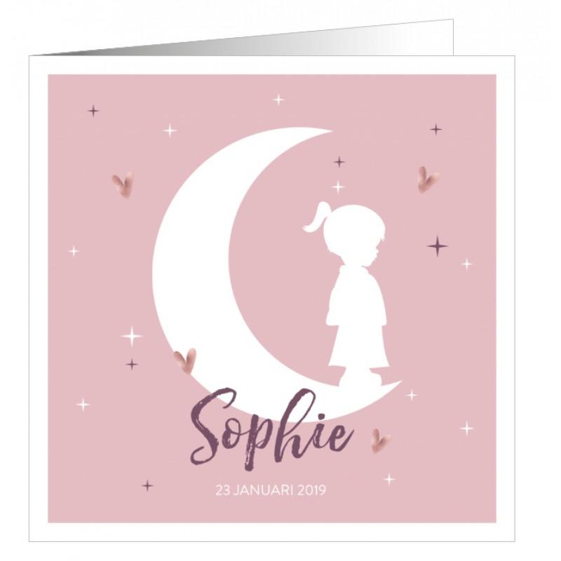 Geboortekaartje Roze met silhouet