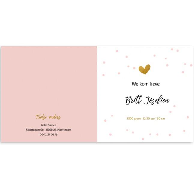 Geboortekaartje Roze met stippen en hartje