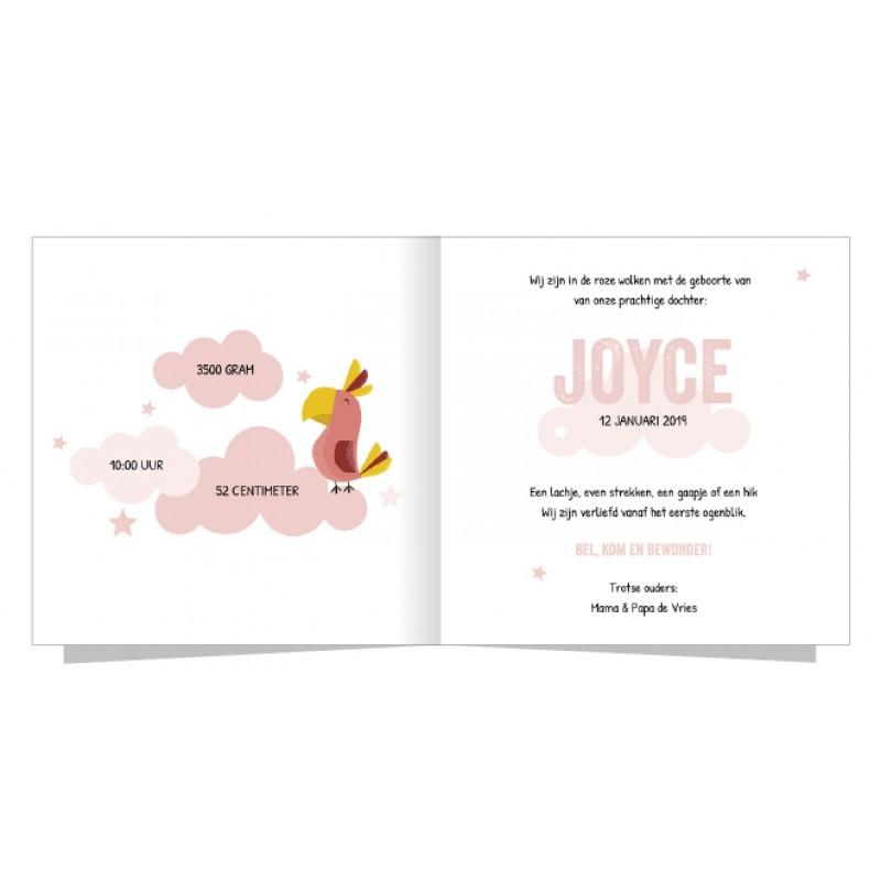 Geboortekaartje Roze papegaai in de wolken