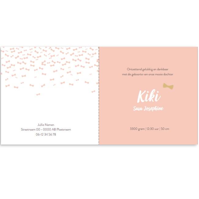 Geboortekaartje Roze strikjes regen