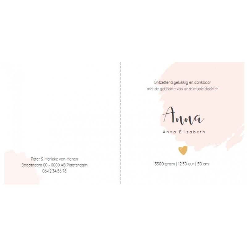 Geboortekaartje Roze verf