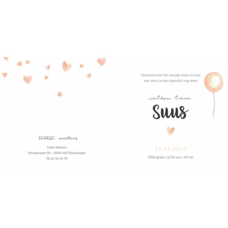 Geboortekaartje Roze waterverf hartjes