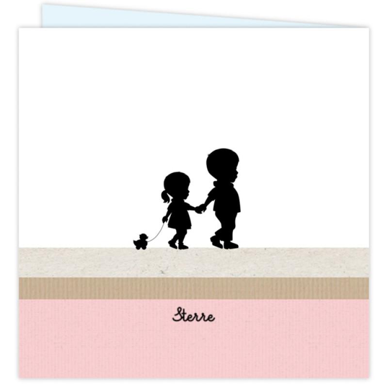 Geboortekaartje Silhouet broertje-zusje