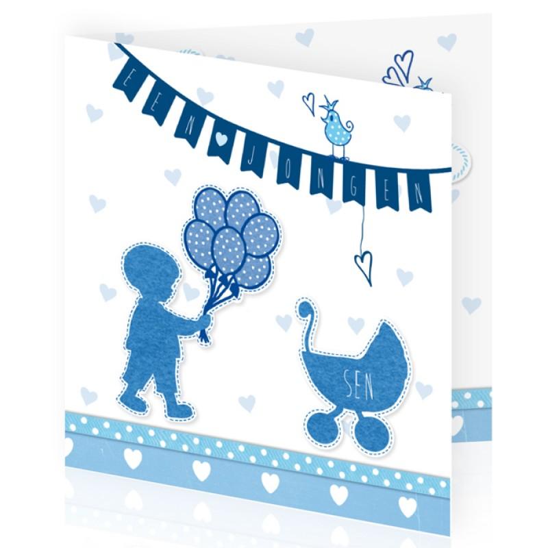 Geboortekaartje Silhouet en slinger