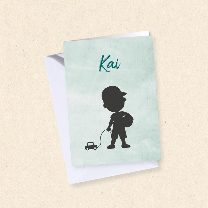 Geboortekaartje Silhouet jongen met bal