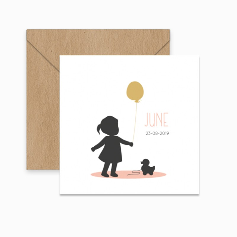 Geboortekaartje Silhouet meisje eend