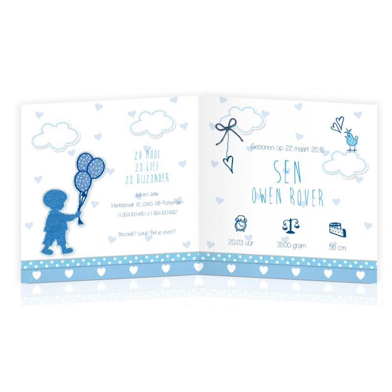 Geboortekaartje silhouet met ballonnen